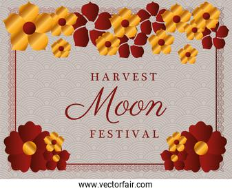 harvest moon festival with gold red flowers and red frame vector design