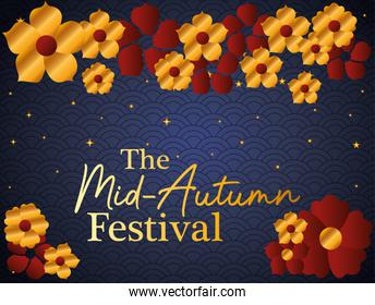 Mid autumn festival with gold red flowers and stars vector design