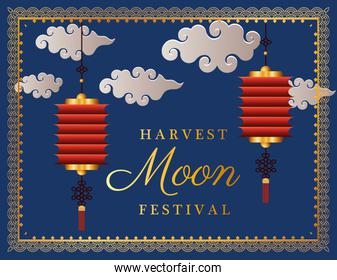harvest moon festival with red lanterns clouds and frame vector design