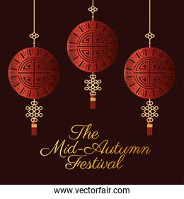 Mid autumn festival with red fortune hangers vector design