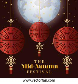 Mid autumn festival with red fortune hangers and stars vector design