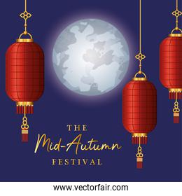 Mid autumn festival with red lanterns moon and stars vector design
