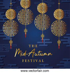 Mid autumn festival with gold fortune hangers vector design