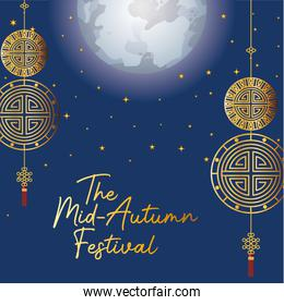 Mid autumn festival with gold fortune hangers and stars vector design