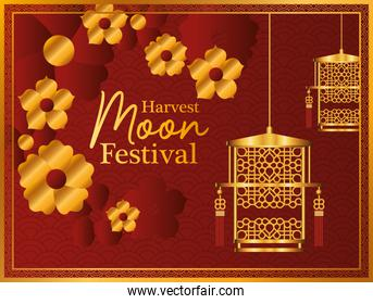 harvest moon festival with gold lanterns flowers and frame vector