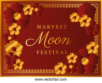 harvest moon festival with gold red flowers and frame vector design