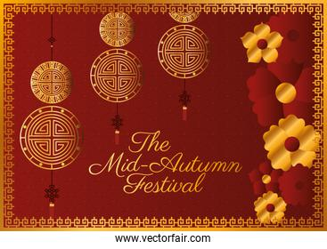 Mid autumn festival with gold fortune hangers flowers and frame vector design