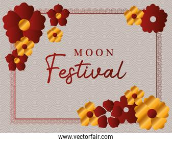 moon festival with gold red flowers and red frame vector design