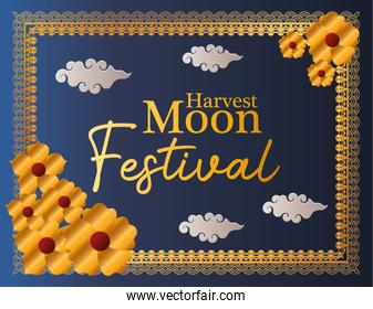 harvest moon festival with gold flowers clouds and frame vector design