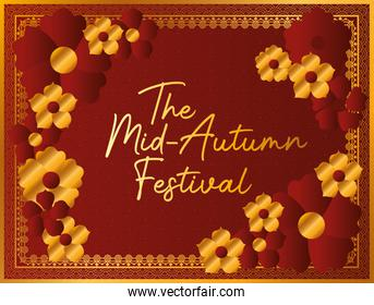 Mid autumn festival with gold red flowers and frame vector design