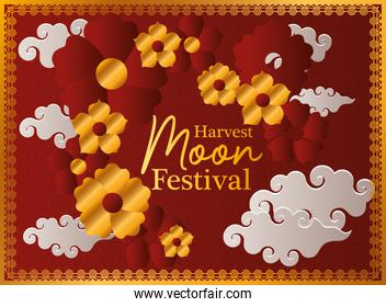 harvest moon festival with gold red flowers clouds and frame vector design