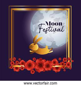 Moon festival with red flowers frame and rabbit vector design