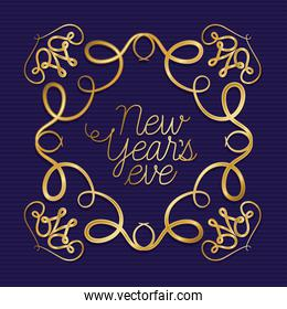 new year in ornament gold frame on striped blue background vector design