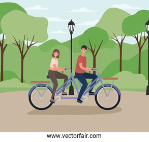 woman and man cartoons riding double bike at park with lamp vector design