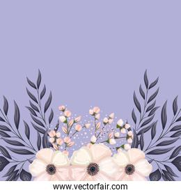 white flower and buds with leaves wreath painting vector design