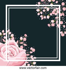 frame with pink rose flower and buds painting vector design