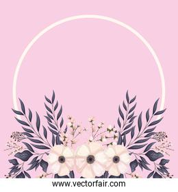 circle with white flowers and leaves painting vector design