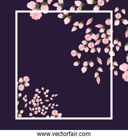 frame with flowers buds painting vector design