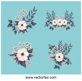 set of white flowers with buds and leaves painting vector design