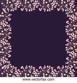 flowers buds painting around frame vector design