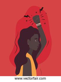 black woman cartoon with fist up in side view vector design
