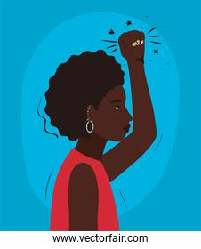 black woman cartoon with afro and fist up in side view vector design