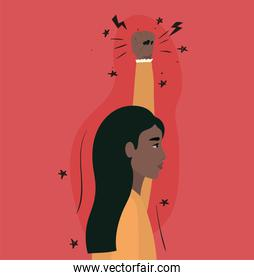indian woman cartoon with fist up in side view vector design