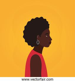 black woman cartoon with afro in side view on yellow background vector design