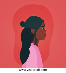 black woman cartoon in side view on red background vector design