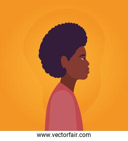 black man cartoon with afro in side view on orange background vector design