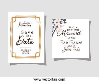 wedding invitations with gold ornament frames and flower with leaves on gray background vector design