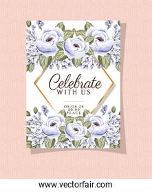 Wedding invitation with gold ornament frame and roses flowers over pink
