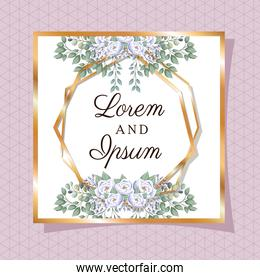 Wedding invitation with gold ornament frame and roses flowers on purple background vector design