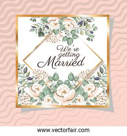 Wedding invitation with gold ornament frame and roses flowers on pink background vector design