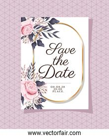 Wedding invitation with gold ornament frame and roses flowers on purple background
