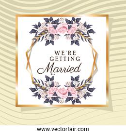 Wedding invitation with gold ornament frame and roses flowers on yellow background vector design