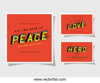 3d peace love and hero lettering on red backgrounds vector design