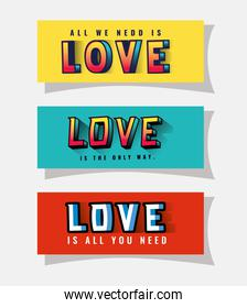 3d love lettering set on yellow blue and red backgrounds vector design