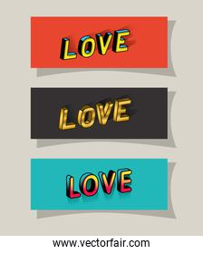 3d love lettering set on red gray and blue backgrounds vector design