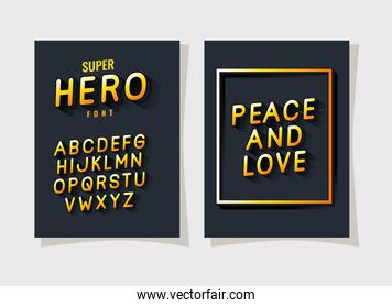 3d peace and love lettering and alphabet on gray backgrounds vector design