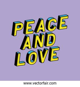 3d peace and love lettering on purple background vector design