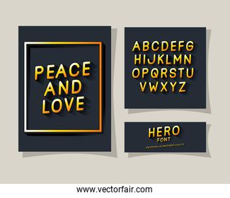 peace and love lettering and alphabet on gray backgrounds vector design