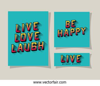 3d live love laugh be happy and live lettering on blue backgrounds vector design