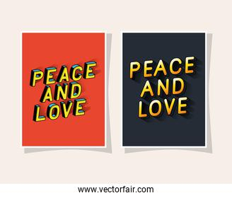 3d peace and love lettering set on red and gray backgrounds vector design