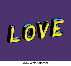 3d love lettering on blue background vector design