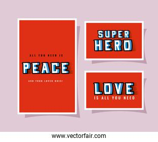 3d peace super hero and love lettering on red backgrounds vector design