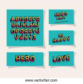 3d hero font lettering and alphabet on blue backgrounds vector design