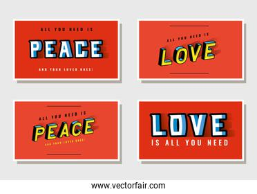 3d peace and love lettering on red backgrounds vector design