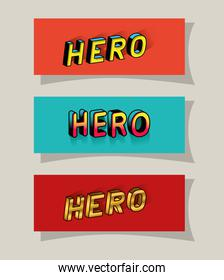 3d hero lettering set on red and blue backgrounds vector design