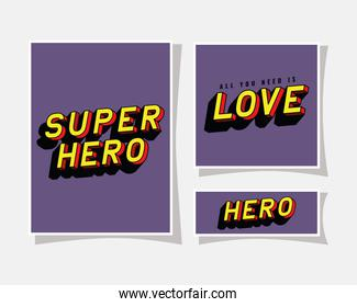3d super hero and love lettering on purple backgrounds vector design